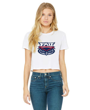 FAU Women's Cropped Tee w/ FAU Florida Atlantic & Owlsley Logo