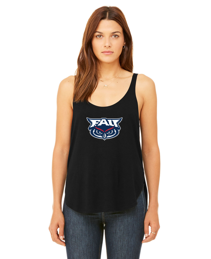 FAU Women's Relaxed Fit Slit Tank w/ FAU & Owlsley Logo