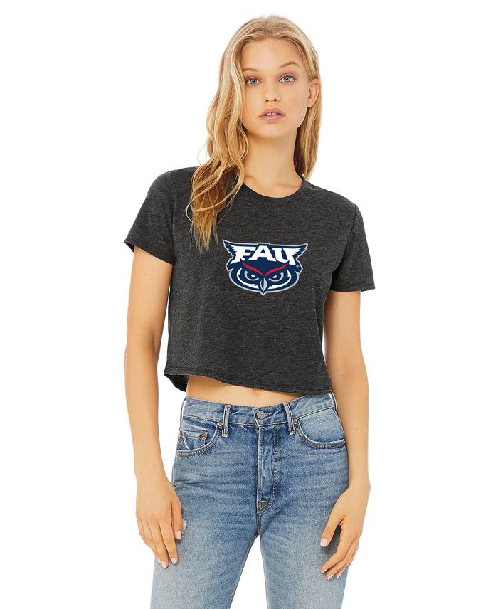 FAU Women's Cropped Tee w/ FAU & Owlsley Logo