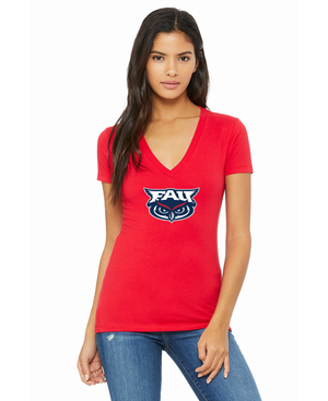 FAU Women's Slim Fit V-Neck Tee w/ FAU & Owlsley Logo
