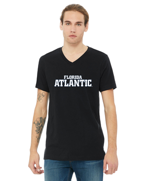FAU Unisex V-Neck Short Sleeve Tee w/ Black & White Florida Atlantic Logo