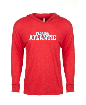 FAU Unisex Long Sleeve Hooded Tee w/ Black & White Florida Atlantic Logo