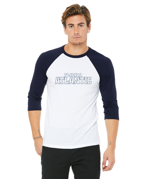 FAU Unisex Casual 3/4 Sleeve Baseball Tee w/ Black & White Florida Atlantic Logo