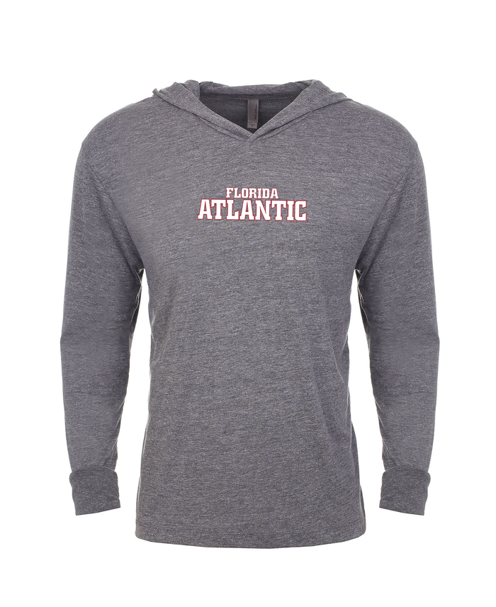 FAU Unisex Long Sleeve Hooded Tee w/ Red & White Florida Atlantic Logo