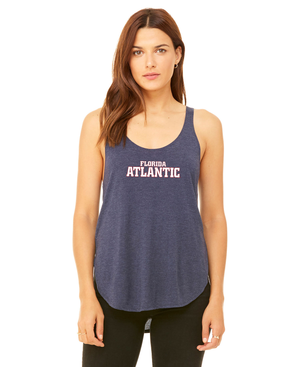 FAU Women's Relaxed Fit Slit Tank w/ Red & White Florida Atlantic Logo