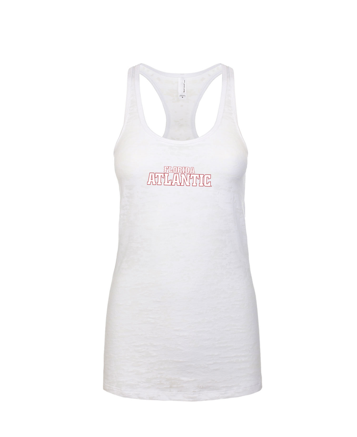 FAU Women's Racerback Burnout Tank w/ Red & White Florida Atlantic Logo