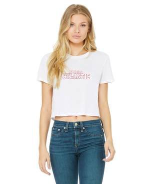 FAU Women's Cropped Tee w/ Red & White Florida Atlantic Logo