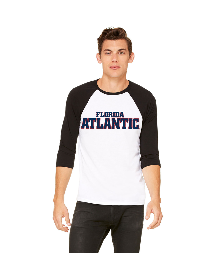 FAU Unisex Casual 3/4 Sleeve Baseball Tee w/ Red & Navy Florida Atlantic Logo