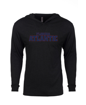 FAU Unisex Long Sleeve Hooded Tee w/ Red & Navy Florida Atlantic Logo