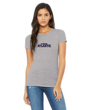 FAU Slim Fit Women's Tee w/ Red & Navy Florida Atlantic Logo