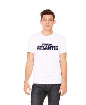 FAU Unisex Heather CVC T-Shirt w/ Red & Navy Florida Atlantic Logo