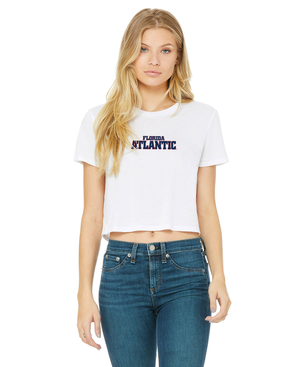 FAU Women's Cropped Tee w/ Red & Navy Florida Atlantic Logo