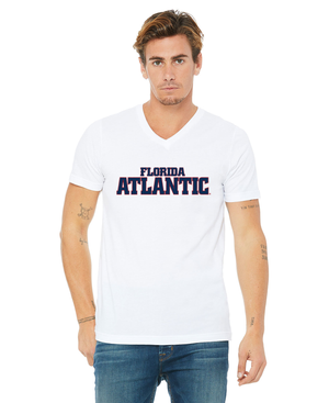 FAU Unisex V-Neck Short Sleeve Tee w/ Red & Navy Florida Atlantic Logo