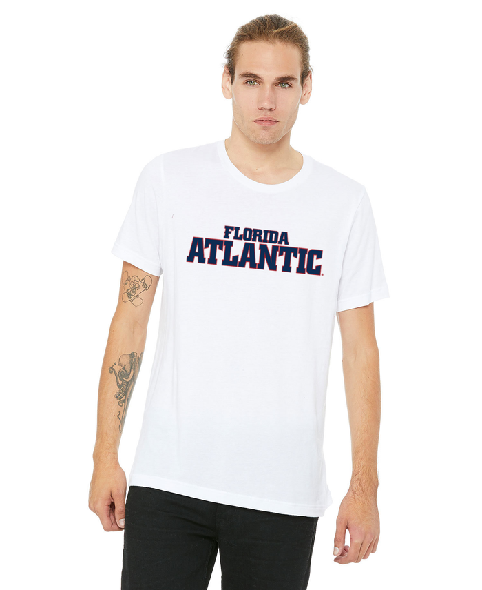FAU Unisex Jersey Tee w/ Red & Navy Florida Atlantic Logo