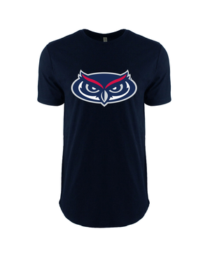 FAU Unisex Cotton Long Body Tee w/ Black & White FAU Logo