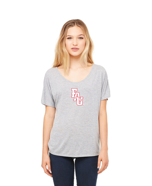 FAU Women's Loose Fit Slouchy Tee w/ Red & White FAU Logo