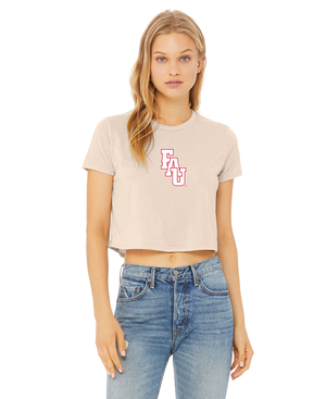 FAU Women's Cropped Tee w/ Red & White FAU Logo