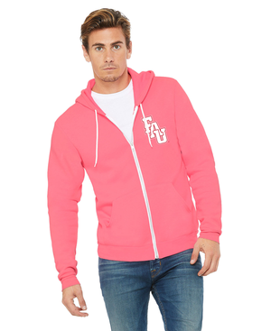 FAU Unisex Soft Fleece Full-Zip Hoodie w/ Red & White FAU Logo