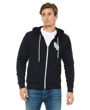 FAU Unisex Soft Fleece Full-Zip Hoodie w/ Black & White FAU Logo