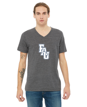 FAU Unisex V-Neck Short Sleeve Tee w/ Black & White FAU Logo