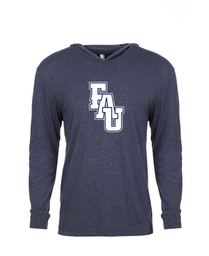 FAU Unisex Long Sleeve Hooded Tee w/ Black & White FAU Logo
