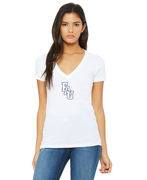 FAU Women's Slim Fit V-Neck Tee w/ Black & White FAU Logo