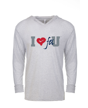 FAU Unisex Long Sleeve Hooded Tee w/ I Heart FAU Logo