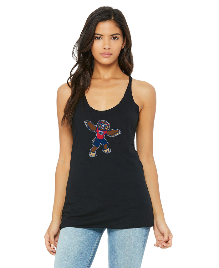 FAU Women's Racerback Tank w/ Owlsley the Owl Mascot Logo