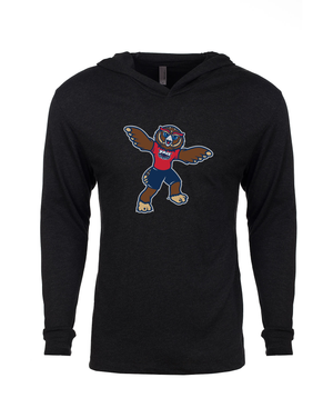 FAU Unisex Long Sleeve Hooded Tee w/ Owlsley the Owl Mascot Logo