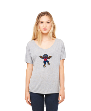 FAU Women's Loose Fit Slouchy Tee w/ Owlsley the Owl Mascot Logo