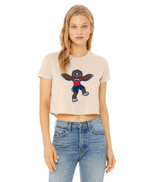 FAU Women's Cropped Tee w/ Owlsley the Owl Mascot Logo