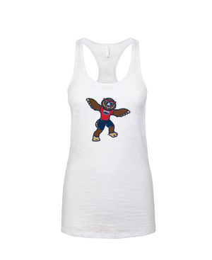 FAU Women's Racerback Burnout Tank w/ the Owlsley the Owl Mascot Logo