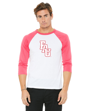 FAU Unisex Casual 3/4 Sleeve Baseball Tee w/ Red & White FAU Logo