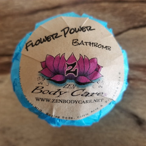 "Flower Power ""BathBomb"" - Zen Body Care treats skin conditions, all skin types and all while leaving your skin smelling deliciously loved!"