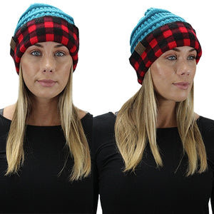Red Plaid Stretch Knit Beanie Toboggan Skully Warm Winter Fall Hat