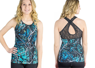 Muddy Girl Serenity Blue Camo Lace Crossed Back Womens Ladies Tank Top  Cover Up Shirt 13c4eb6f5