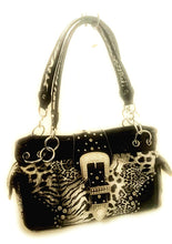 Leopard Cheetah Concealed Carry CCW Rhinestone Buckle Western Purse Black or Blue