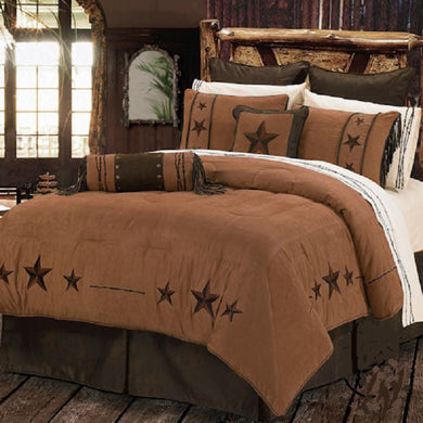 Western Cabin Country Rustic Bedding Decor Comforter Set Brown Tan Triple Star Sheet Option