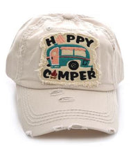 Adjustable Happy Camper RV Cap Hat Pink Black Turquoise Blue Cheetah/Leopard or Off white/Beige