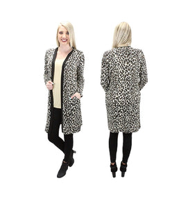 S&R Cheetah Leopard Long Cardigan Sweater Jacket Coat Top Pockets Black Brown Beige