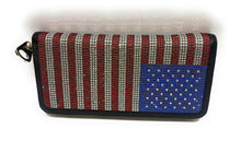 HW Rhinestone Patriotic Zipper Wallet Black Red Blue USA