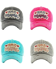 Adjustable Womens Baseball Cap Hat Proud Mama Heart Turquoise Gray Black Pink