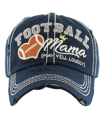 Football Mama May Yell Loudly Crown Heart Distressed Womens Sports Hat Cap