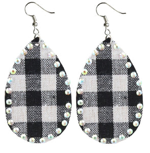 Buffalo Plaid Earrings Holiday Rhinestone Bling Teardrop Jewelry White Black 3 Inch