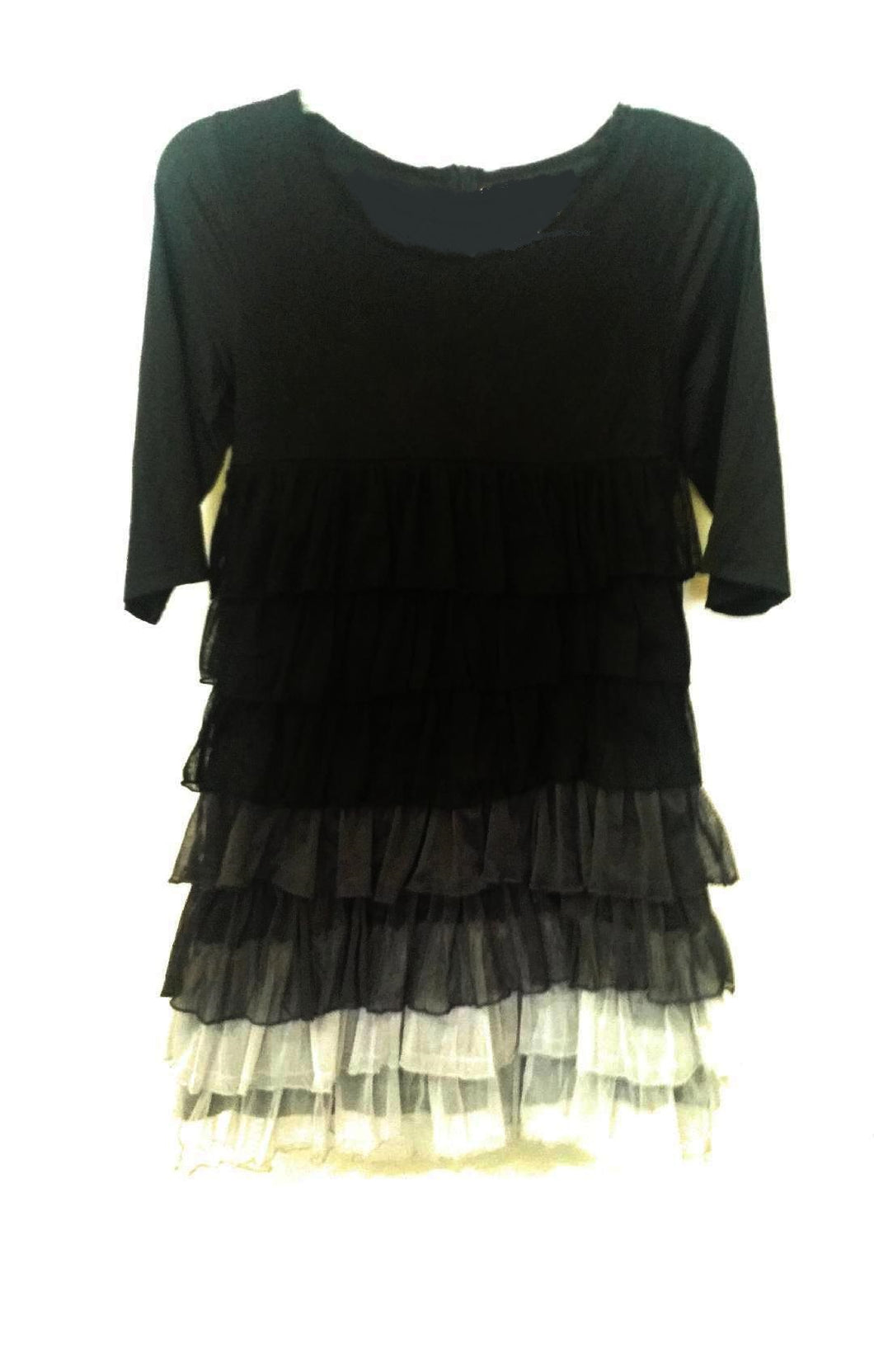 Lady Noiz Junior Tiered Ruffle Shirt Top Tunic Dress Black Gray