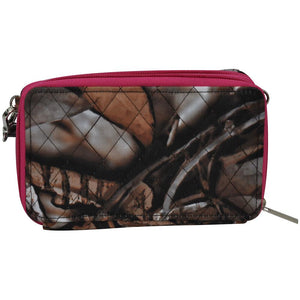 BNB Quilted Western Camo Camouflage All in One Messenger Wallet Brown r Pink