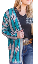 Crazy Train Cardigan Lightweight Jacket Reversible Cow Print Aztec Turquoise Black
