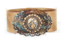 Western Cowgirl Jewelry Crossed Filigree Scroll Gun Pistols Snap Bracelet