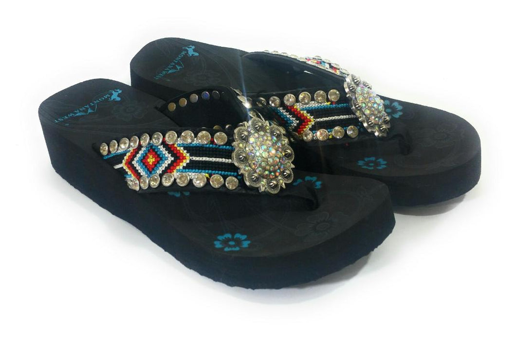 Montana West Aztec Rhinestone Concho Western Flip Flops Black Red Turquoise