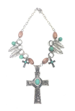 P&G Turquoise Rhinestone Cross Jewelry Western Aztec Feather Necklace